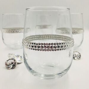 BLING Stemless Wine Glass handmade with Swarovski Crystal Bedazzled for Wedding