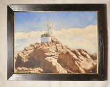 Dipinto ad olio di statua in montagna. firmato JCH (Jerzy Chmelik).