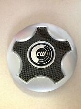 "CW Aftermarket Wheel Center Cap Silver Carbon Fiber 3968 6.75"" Diameter CW1"