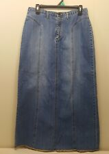 Sonoma 10 Blue Jean Skirt Denim Long Modest Back Slit Straight Pencil Streaked