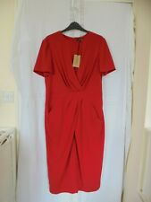 Jaeger Ladies Size 14 Red Short Sleeve Front Draped Lined Dress