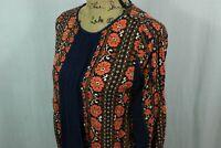 Women's Matilda Jane Floral Blouse Size Small Navy Blue Orange Lace Panel Shirt