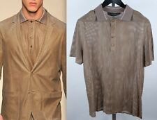 Calvin Klein Collection sz M Sp'2010 lambskin leather perforated polo T shirt