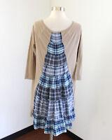 Altar'd State Tan Blue Plaid Back Tunic Shift Dress Size M Boho Lagenlook Patch