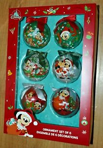 Disney Store Mickey and Friends Holiday Cheer 6 Baubles hanging Christmas tree 1