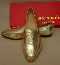 Kate Spade Carima Light Gold Crackle Metallic Leather Loafers 10M NEW  Box $250