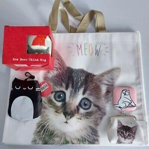 meow bag foldable shopping bag coin purse cat mirror christmas mug gift bundle