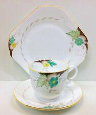 "Shelley Empire Shape ""Green & Yellow Flowers"" Pattern Tea Cup Trio"