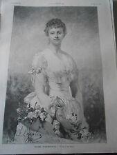 Gravure 1889 - Rose d'Amérique d'après Chaplin