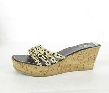 Women's Yellow Box Bananas Platform Wedge Sandals SZ 10M Leopard Print Calf Hair