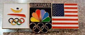 1992 NBC Barcelona Olympic Pin Rings US Flag Large Media Press 3D Logo