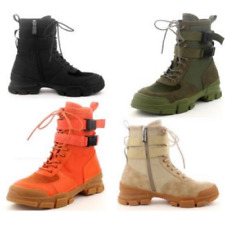 Cape Robbin UTILITY Orange Lace Up Buckle Strap Chunky Sole Utility Sneaker Boot