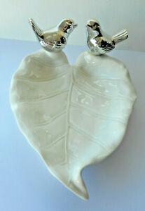 CERAMIC BIRDS & LEAF DISH SILVER WHITE / CREAM TRINKET JEWELLERY PIN TRAY 18cm
