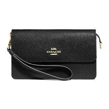 NWT COACH Luxury Foldover Wristlet Clutch Wallet Pouch Black Gold F73793 IMBLK