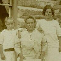 Woman Children Girl Dress Log Cabin House Vintage RPPC Photo Postcard