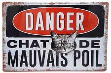 """Plaque vintage humoristique """"Danger chat de mauvais poil"""" idée cadeau NEUF"""