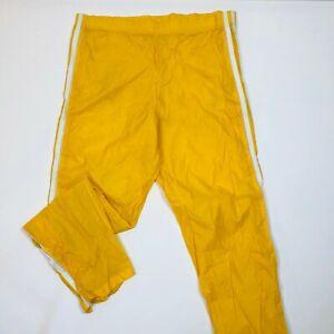Vintage Asics Tiger Yellow/White Stripe Nylon Swish Ankle Zip Track Pants Men LG