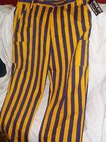 GAME BIBS CARGO PANTS MENS 44x34 YELLOW PURPLE STRIPES sport fan wear LA Lakers