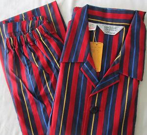 NWT Bonsoir Bergdorf Goodman Cotton Striped Pajamas PJs 2pc Set England Men's XL
