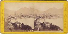 Panorama di Como Italie Italia Fotografie Messi Stereo Albumine ca 1865