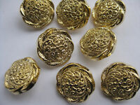 18mm Medium Fancy Very Nice Gold Floral Textured Vintage Sewing Buttons Set 8