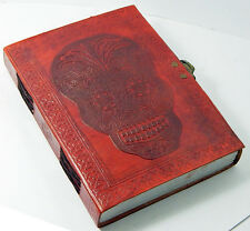Handmade Paper 6x8 Embossed Leather Journal Day of the Dead  latch Sketchbook