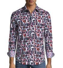 Robert Graham Men's Long Sleeve Encinas Patterned Classic Fit Shirt Raspberry