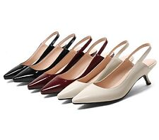 Women's Comma Heel Shoes Synthetic Leather Pointed Slingbacks Pumps UK Size S512