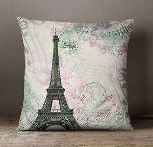 S4Sassy Paris Theme Printed Decorative Throw Multicolor Square Pillow Cover