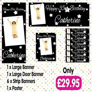 PERSONALISED PHOTO BIRTHDAY PARTY BANNER PACKS ANY AGE, ANY NAME,ANY EVENT A002