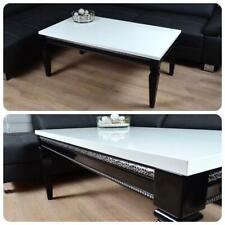 Barock Design Couchtisch 115x65x50cm Hochglanz weiss schwarz Lack Tisch Sofa