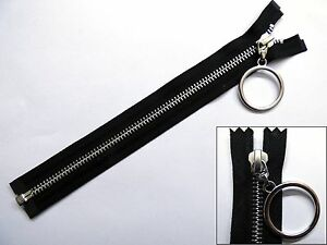 Zip, Zipper, Hanging Ring Puller, Open End, Separating, Metal, YKK, Black