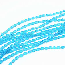50pcs 5x3mm sky blue Faceted Teardrop crystal glass Jade Spacer beads!