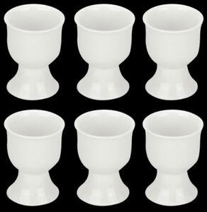 Set of 6 Fully vitrified porcelain White Egg Cups. Egg Holders Set of 6