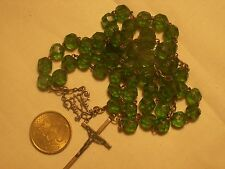 chapelet ancien cristal vert antique green crystal  rosary 55 cm