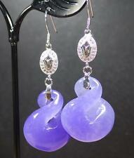 Lavender 925 Sterling Silver Jade Earring Dangle Circle Donut 8 Knotted 282125