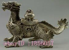 Collectible Old Handwork Silver Plate Copper Carved Big Dragon Walk Statue