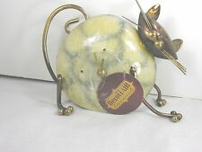 Deco FLAIR Whimsical CAT desk clock - Metal Ivory - bronze FREE SHIPPING