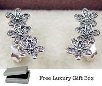 925 Silver Sterling DAZZLING DAISY CLUSTERS European EARRINGS + luxury gift Box
