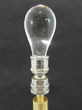 Vintage Clear Glass Teardrop Lamp Finial on Nickel Plated Base