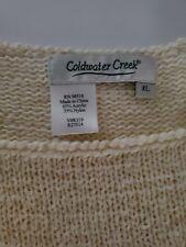 Coldwater Creek FLAW Crochet XL Sweater Knit Lacey Women's Short Sleeve Cream