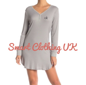 Calvin Klein Women's Logo Loungewear/Nightdress Long Sleeve Grey (RRP £60)