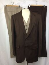 Men's 70's Polyester Leisure Suit Brown Houndstooth 4 Piece Vest Blazer 2 Pants