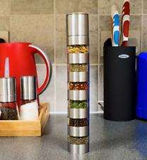Stainless Steel 6 Jar Salt Pepper & Spice Grinder Mill Set With Ceramic Grinder