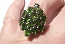 Russian Diopside Platinum over Sterling Silver Ring Size O
