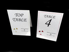 Handmade Personalised Wedding Table Numbers / Table Names. Many Heart Colours!