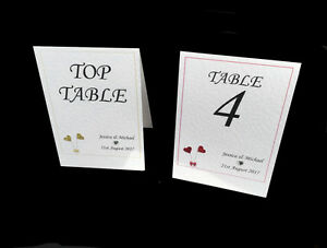 Personalised Wedding Table Numbers / Table Names. Many Heart Colours!