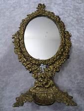 Metal Espejo de Pie Putti / Cupidos - Concha - Aspecto Vintage/Estilo Antiguo
