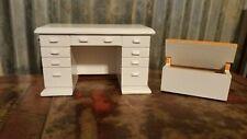 Vintage Dollhouse Toy Storage Box Desk Furniture All Wood White