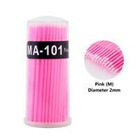 100x Mini Eyelash Tool Cotton Swabs Bendable Makeup Micro Applicator Brush Stick